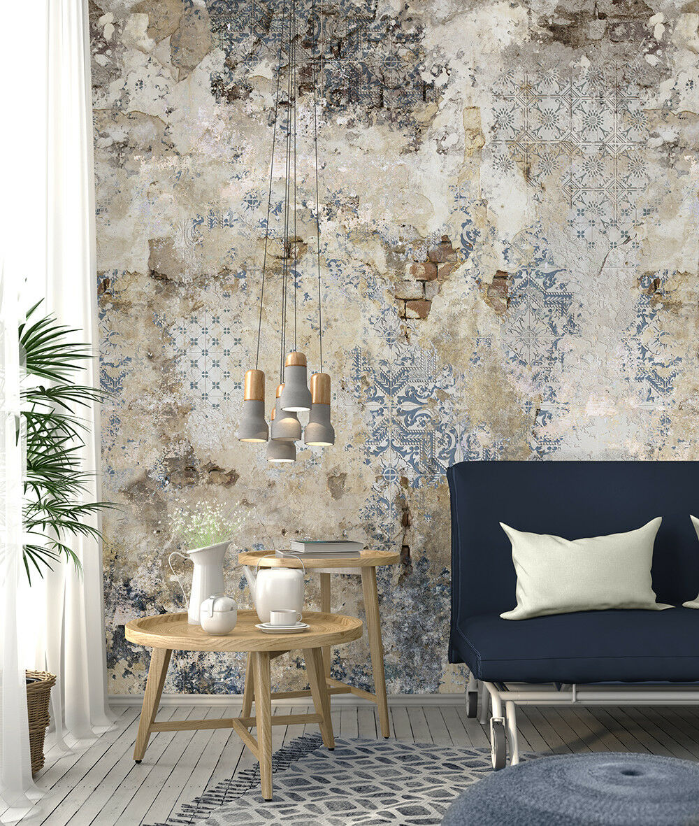 vlies foto tapete wandbild steinwand fliesen ornament bruchstein