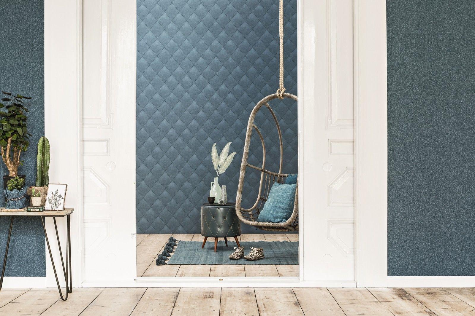 Vlies tapete rauten muster blau grau karo caro kariert textil jeans optik 17625 kaufen bei - Tapete petrol blau ...