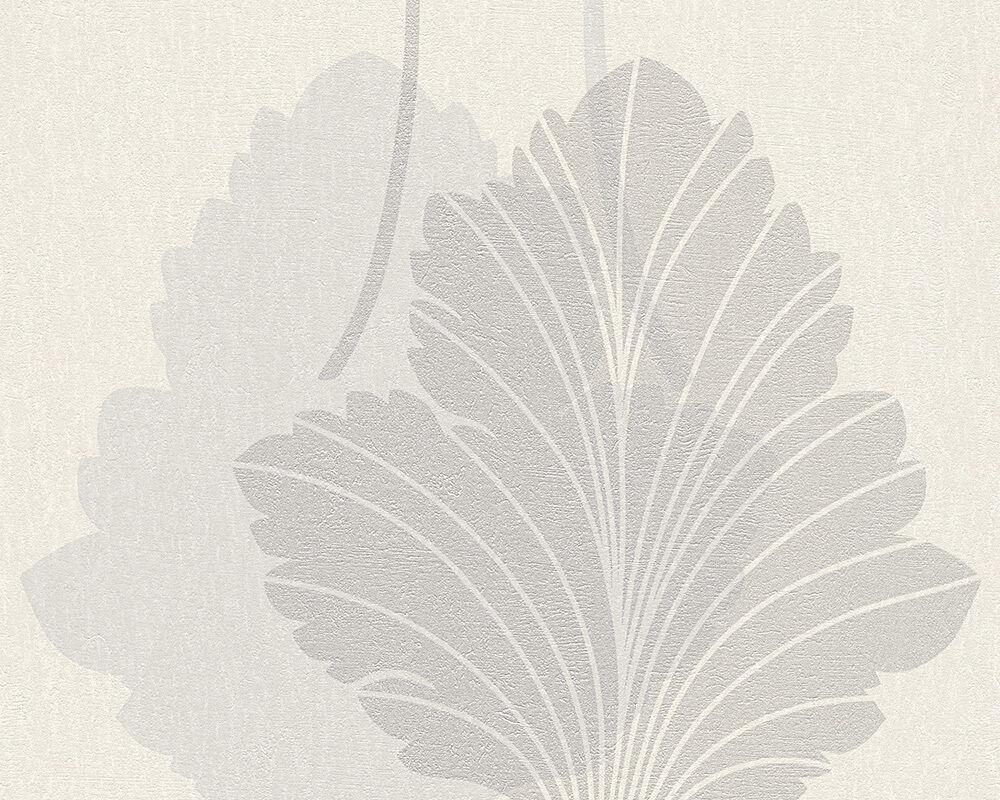 Vlies Tapete Floral Blatt Panel Weiss Grau Silber Metallic Fleece