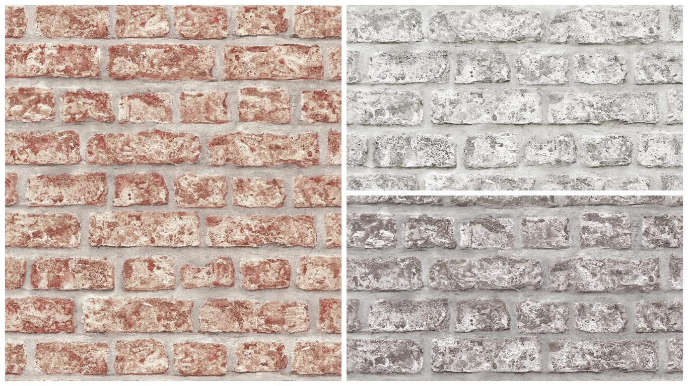 Vlies Tapete Bruchstein Stein Mauer Ziegelstein creme grau klinker Grandeco