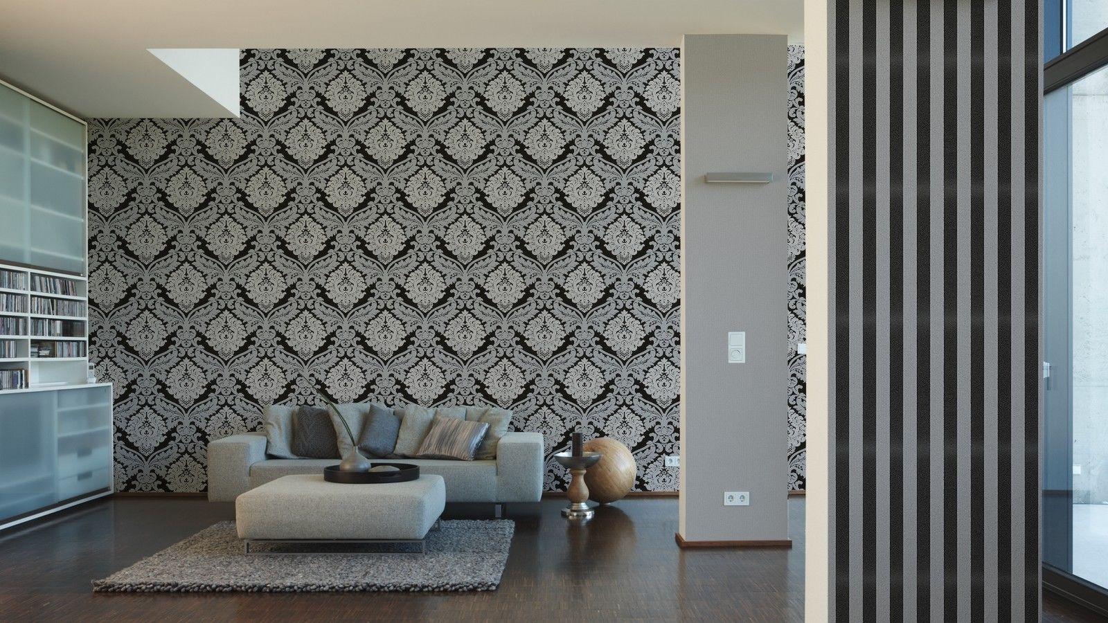 vlies tapete barock muster ornament schwarz grau glitzer effekt klassisch kaufen bei joratrend. Black Bedroom Furniture Sets. Home Design Ideas