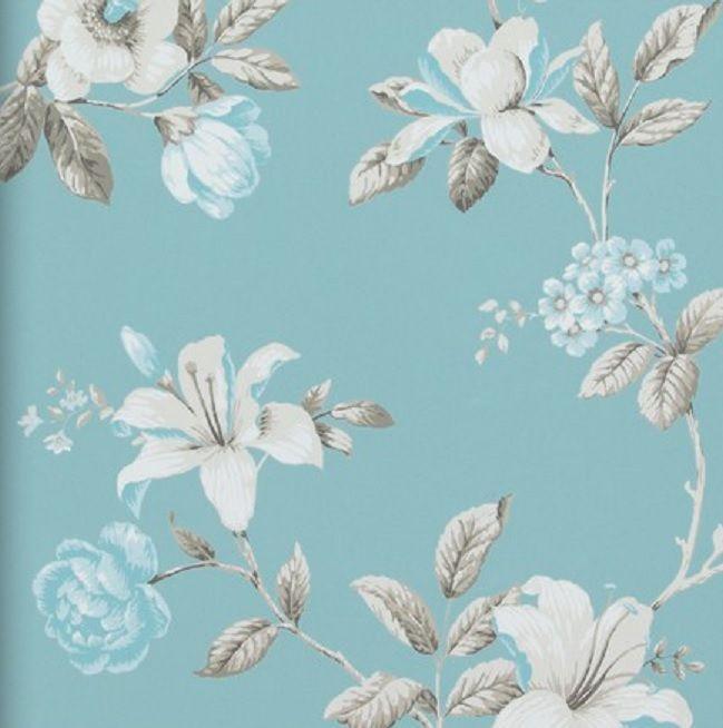 Vlies tapete florales blumen muster blau t rkis creme for Tapete muster blau