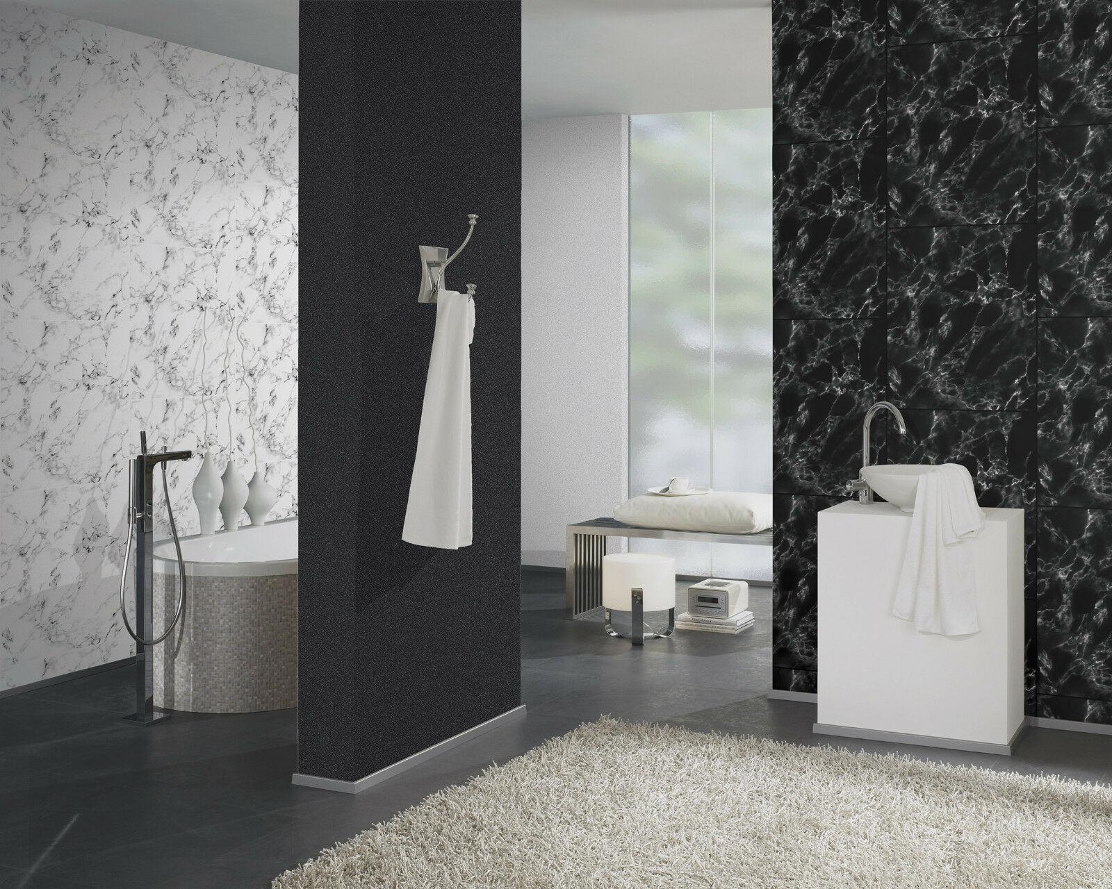 ... Vlies Tapete Marmor Platten Naturstein Fliesen Steintapete Weiß Schwarz  Marble 2 ...
