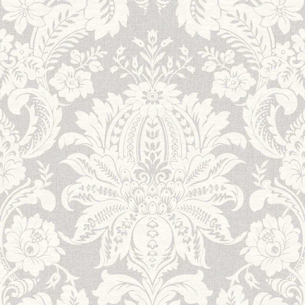 Venezianische Barock Ornament Vlies Tapete Struktur Damast grau weiß 33-373