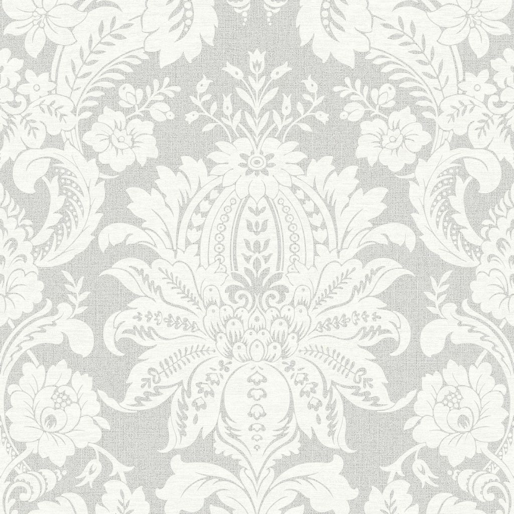 Venezianische Barock Ornament Vlies Tapete Struktur Damast Grau Weiss