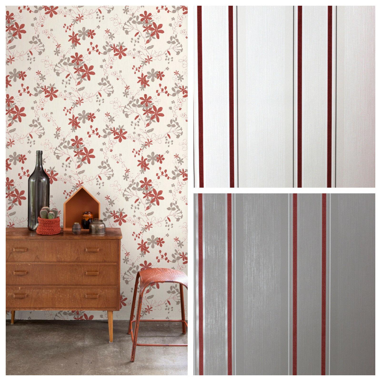 Vlies Tapete Florales Blumen Muster Weiß Rot Grau Streifen Uni