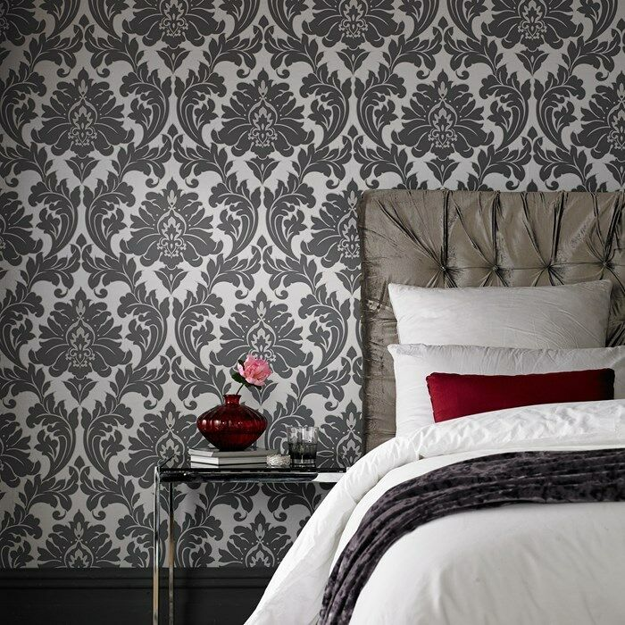 vlies tapete barock muster ornament metallic effekt silber. Black Bedroom Furniture Sets. Home Design Ideas