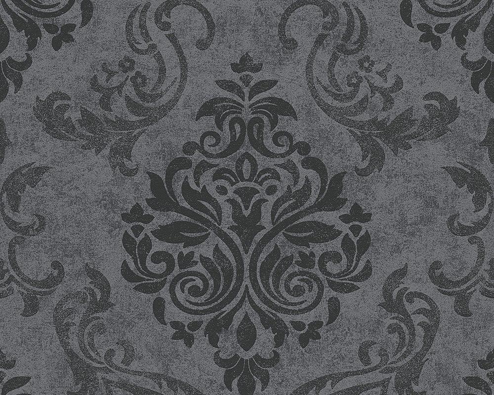 Vlies tapete barock muster ornament anthrazit grau silber for Tapete glitzer grau