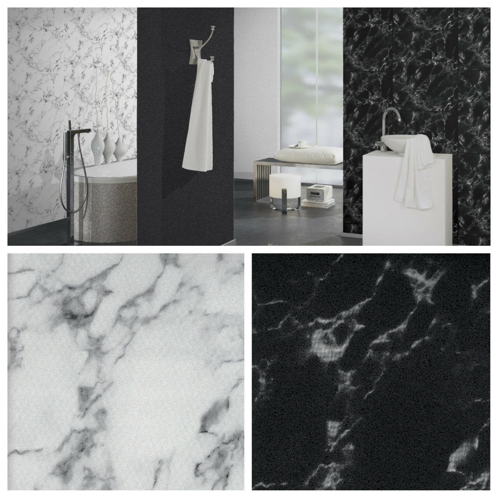 Vlies Tapete Marmor Platten Naturstein Fliesen Steintapete Weiß Schwarz  Marble 1 ...