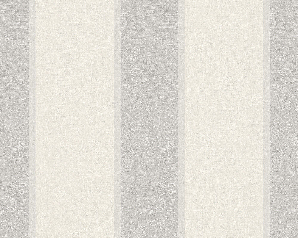 Vlies tapete streifen optik fleece royal wei grau silber for Fleece tapete