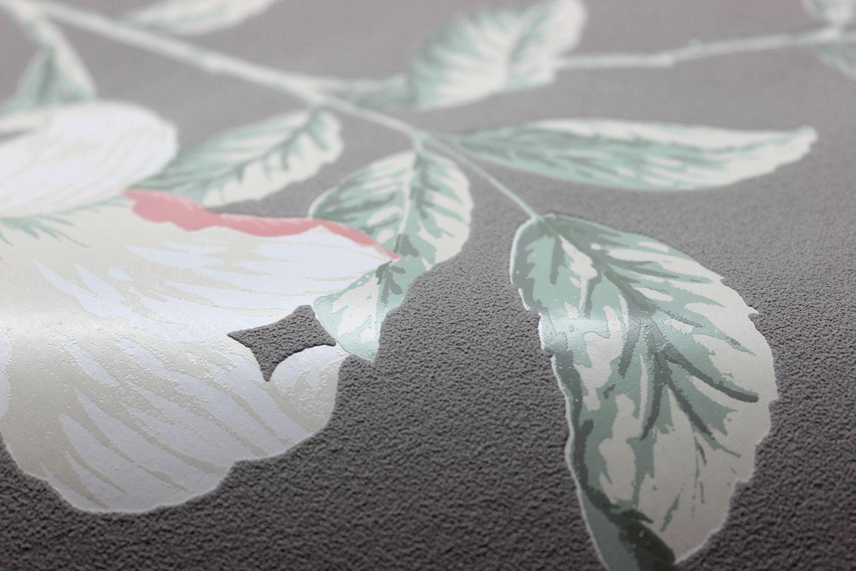 vlies tapete florales blumen muster grau ros rosa creme. Black Bedroom Furniture Sets. Home Design Ideas
