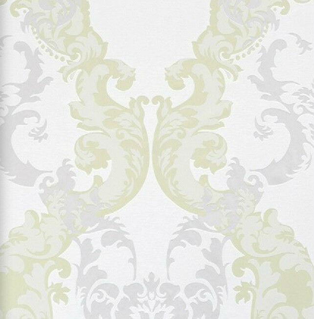 Vlies Tapete 48660 Barock Muster Ornament Weiss Grün Silber Metallic