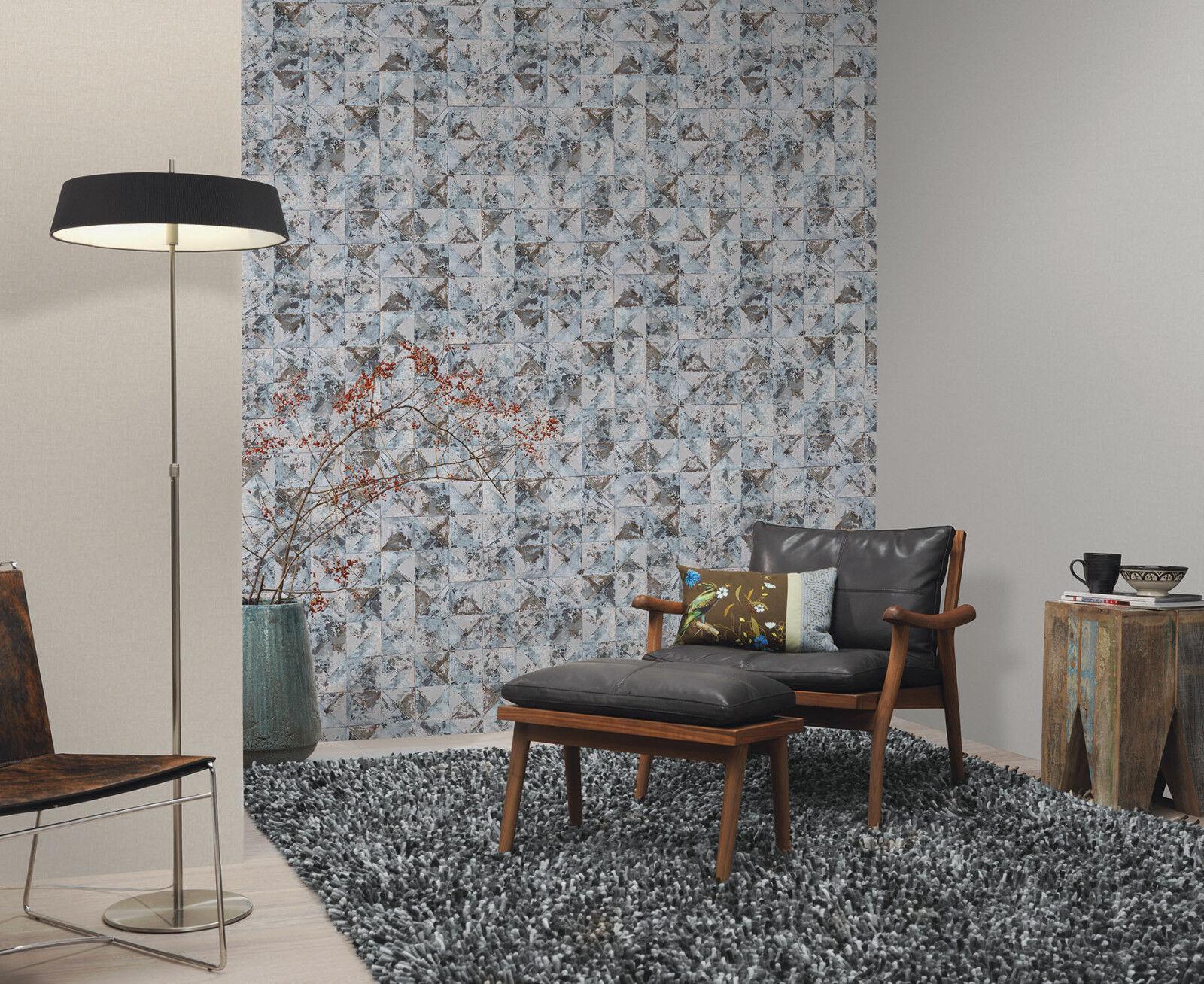 Vlies tapete beton mosaik fliesen kacheln grau silber for Tapete schwarz grau