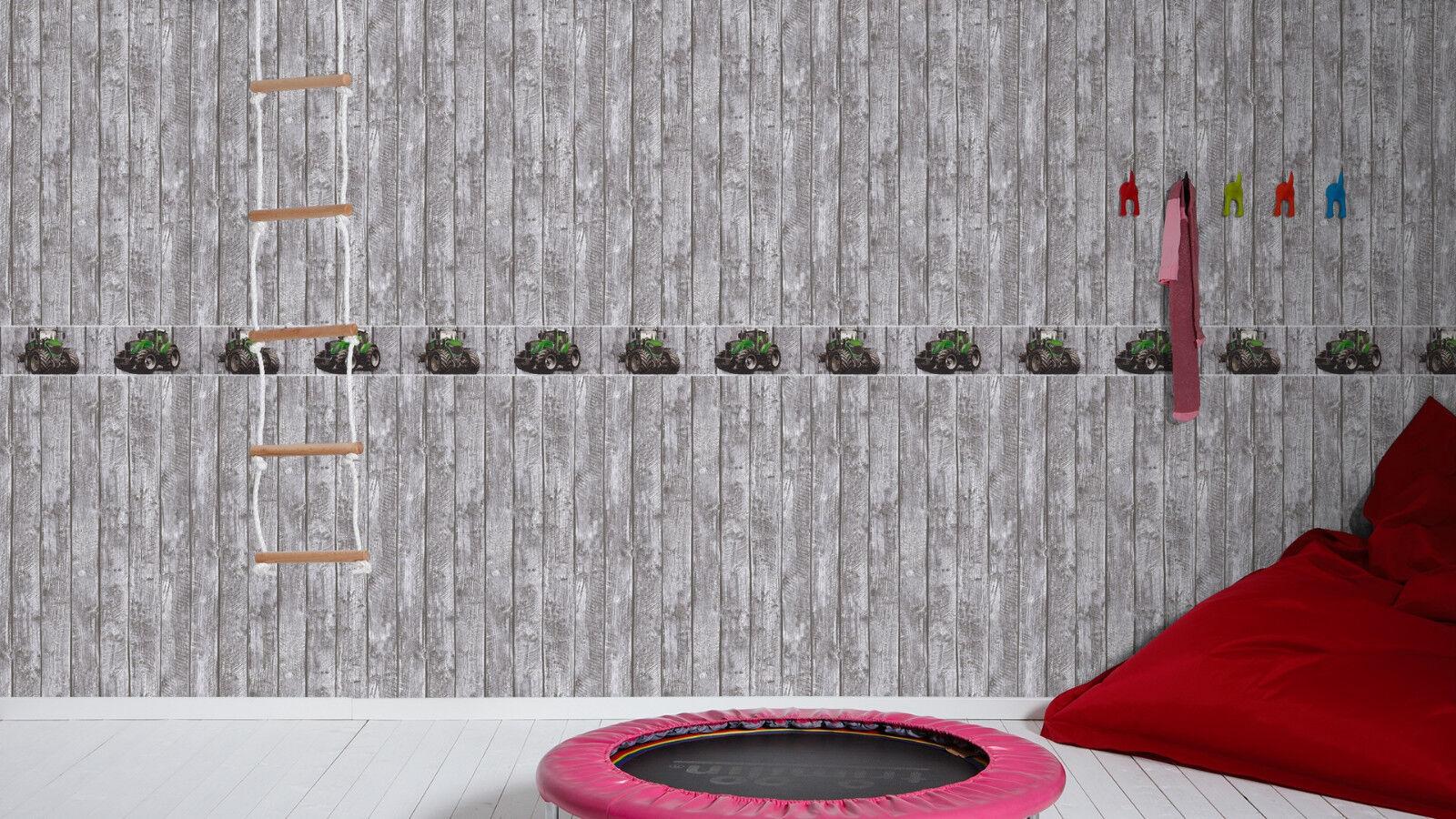 kinder tapeten bord re holz traktor trecker grau gr n. Black Bedroom Furniture Sets. Home Design Ideas