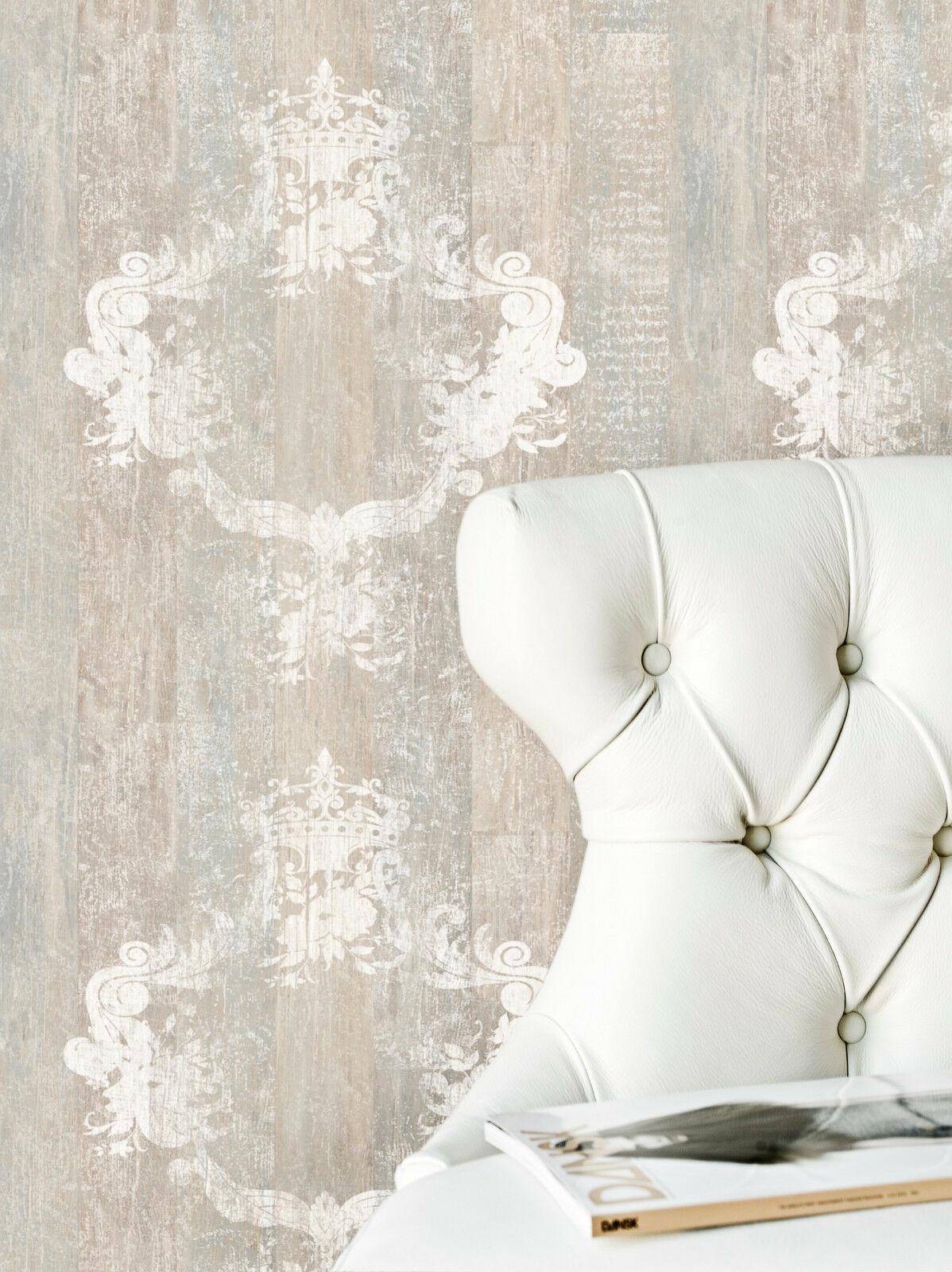 Vlies Tapete Antik Holz Muster Ornament Barock braun grau beige ...