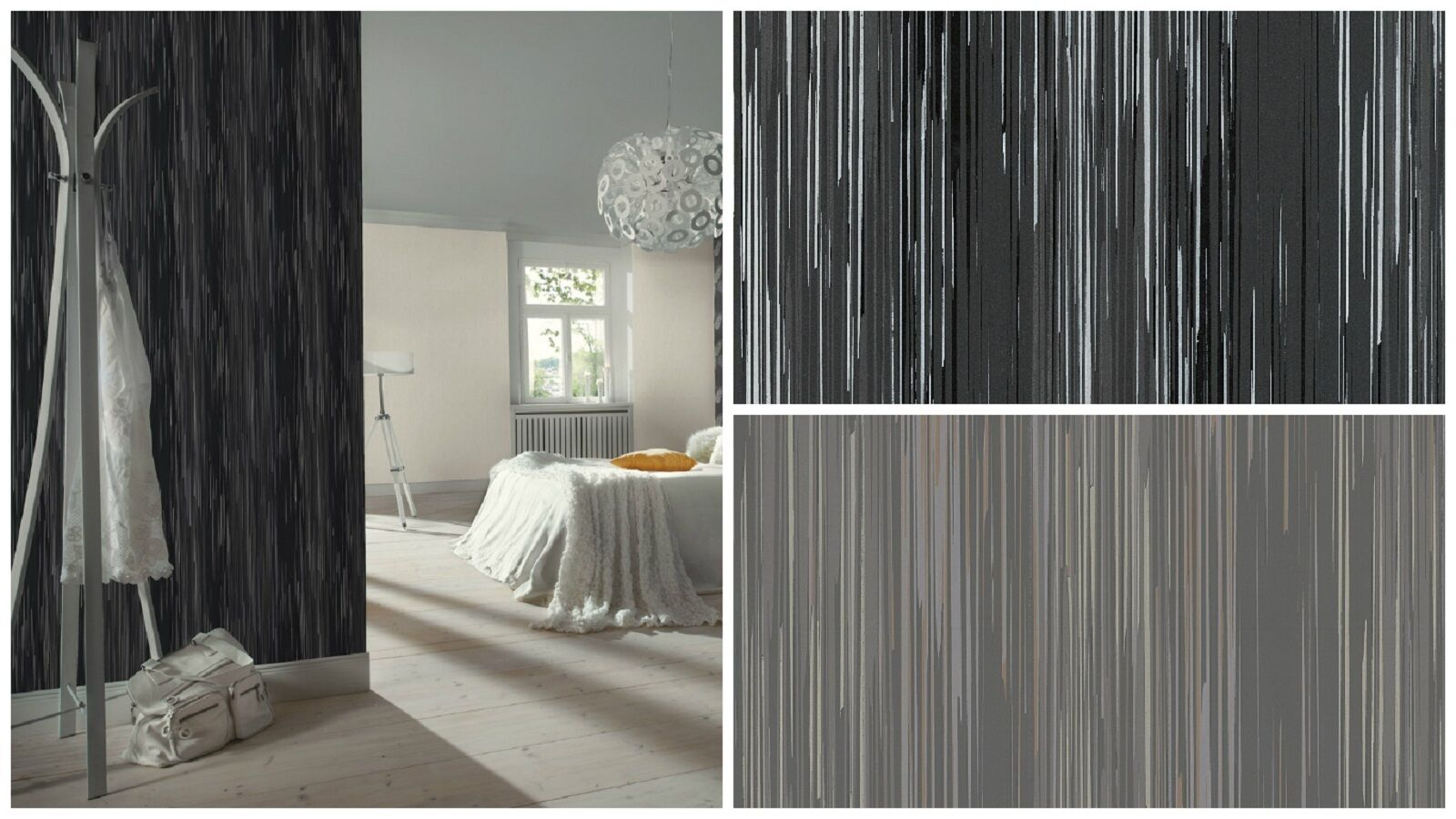vlies tapete streifen struktur schwarz silber grau. Black Bedroom Furniture Sets. Home Design Ideas
