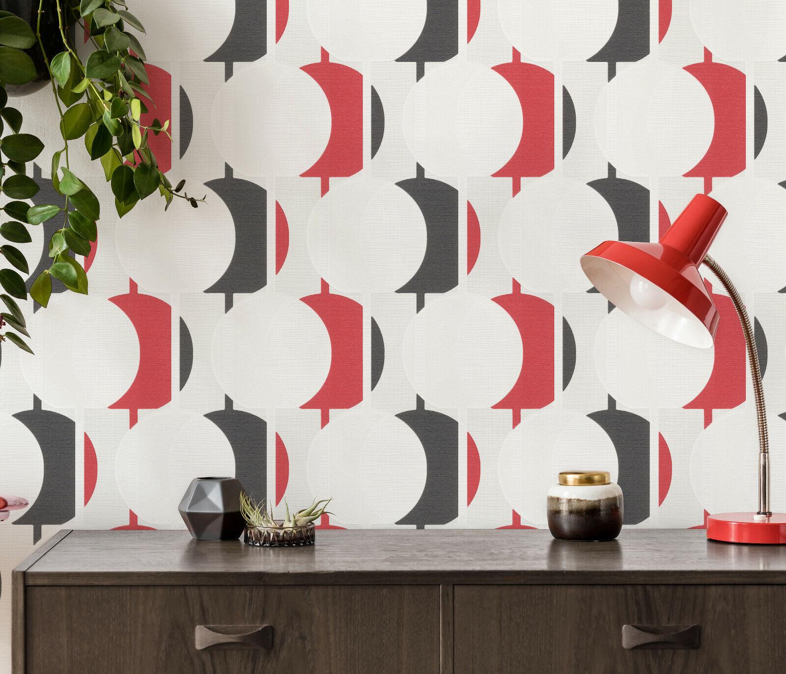 Vlies Tapete Retro Kreise Struktur rot schwarz weiß grau ...