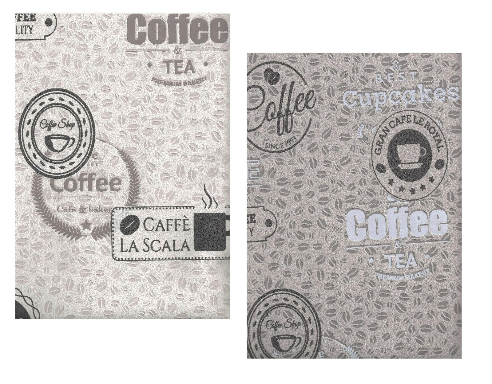 vliestapete kaffeebohnen coffee cupcakes kieselgrau creme braun kuchentapete 1