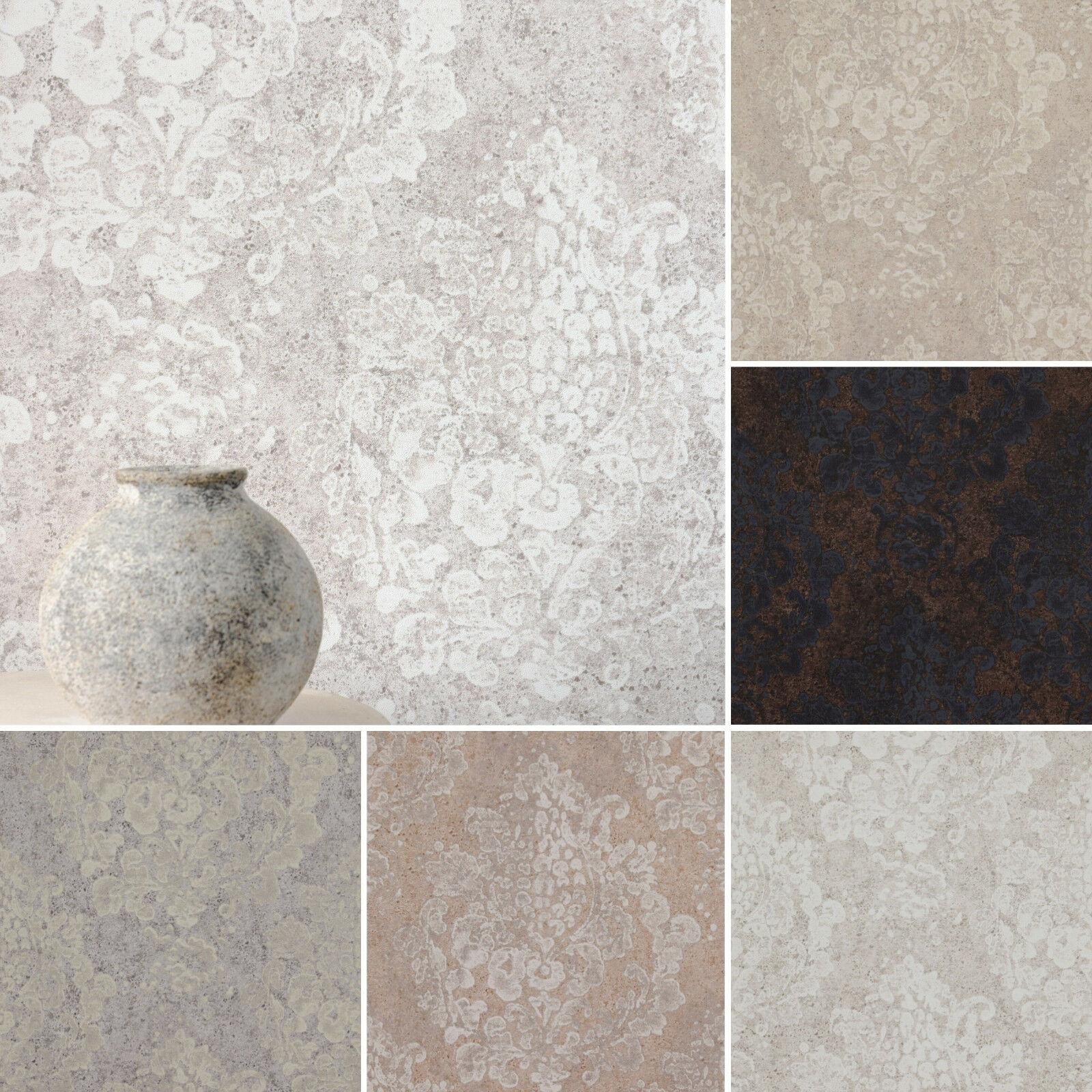 vlies tapete neo barock ornament stein beton optik beige braun grau