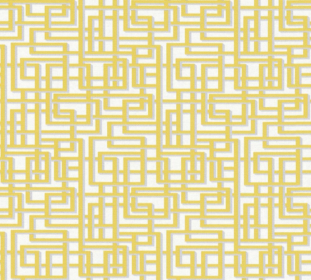 Extrem Labyrinth Muster Grafik Retro Vlies Tapete gelb grau weiß Palila BZ78