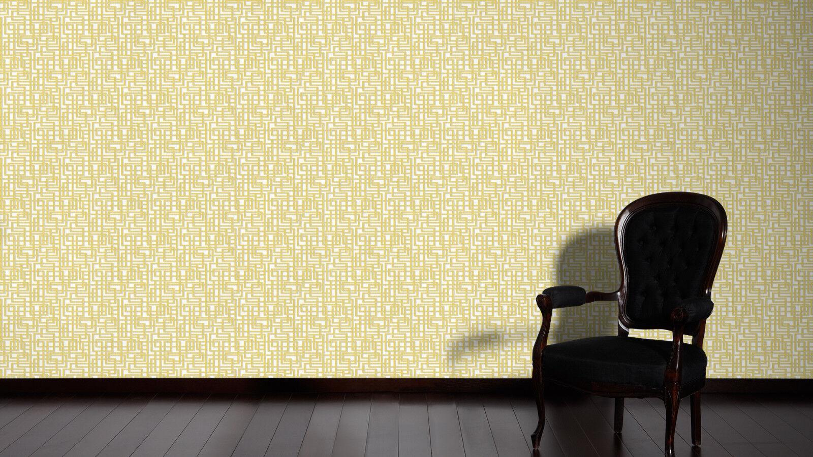 labyrinth muster grafik retro vlies tapete gelb grau wei. Black Bedroom Furniture Sets. Home Design Ideas