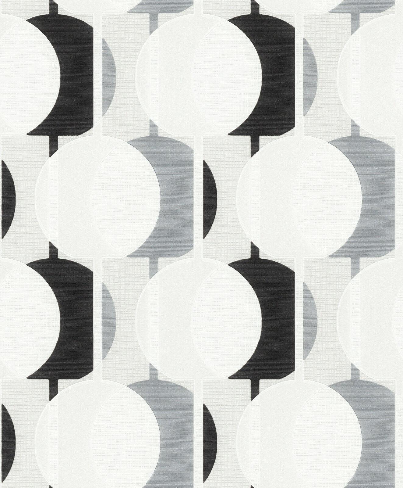 Vlies Tapete Retro Kreise Struktur weiß grau schwarz 10118 ...