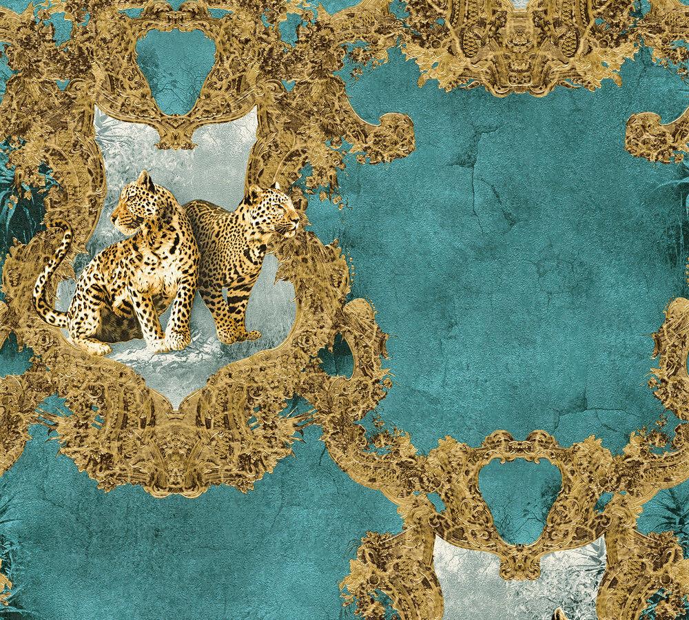 Luxus Vlies Tapete Barock Leoparden petrol türkis gold metallic ...
