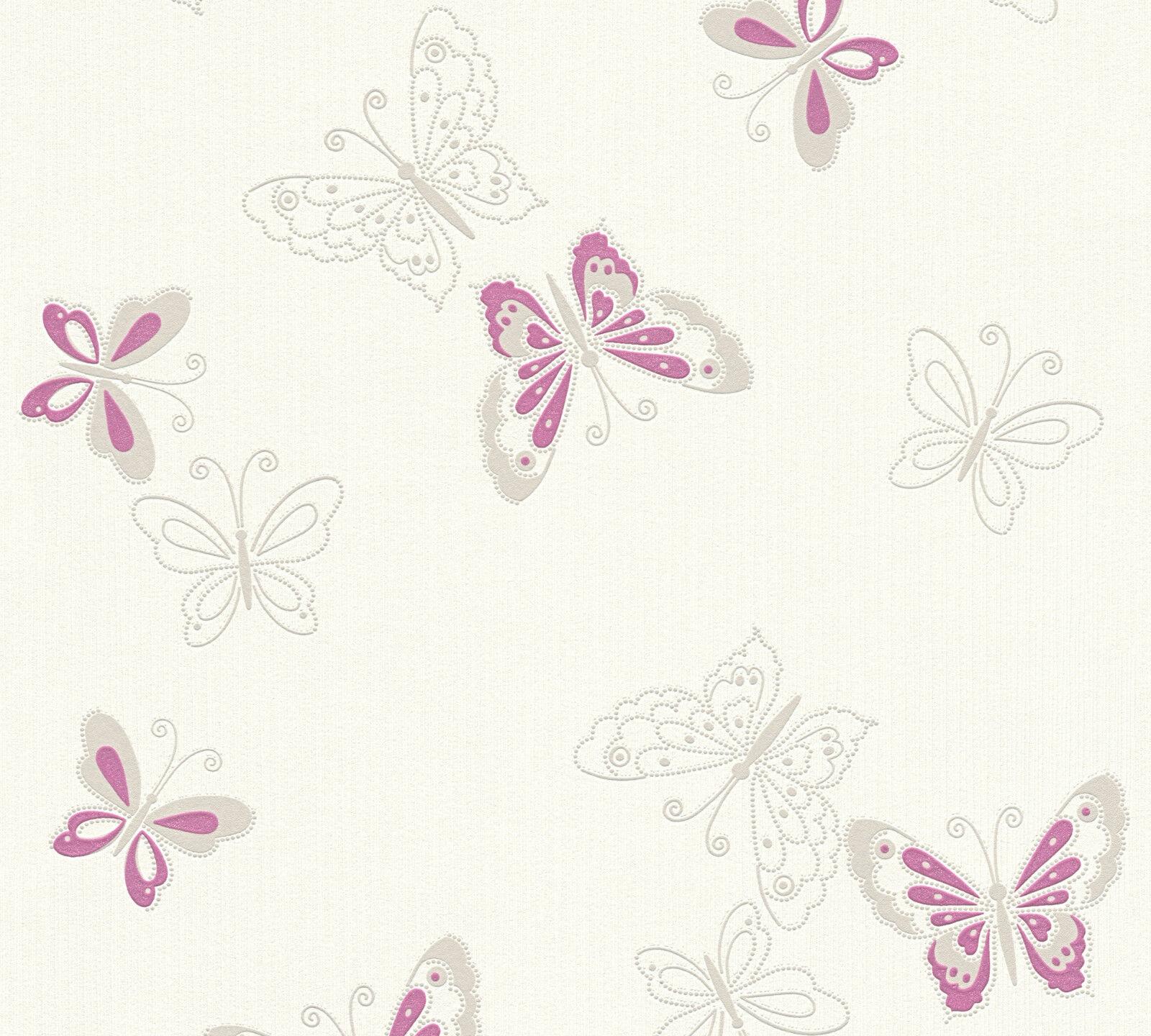 Vlies tapete schmetterlinge creme wei lila pink flieder - Tapete lila grau ...