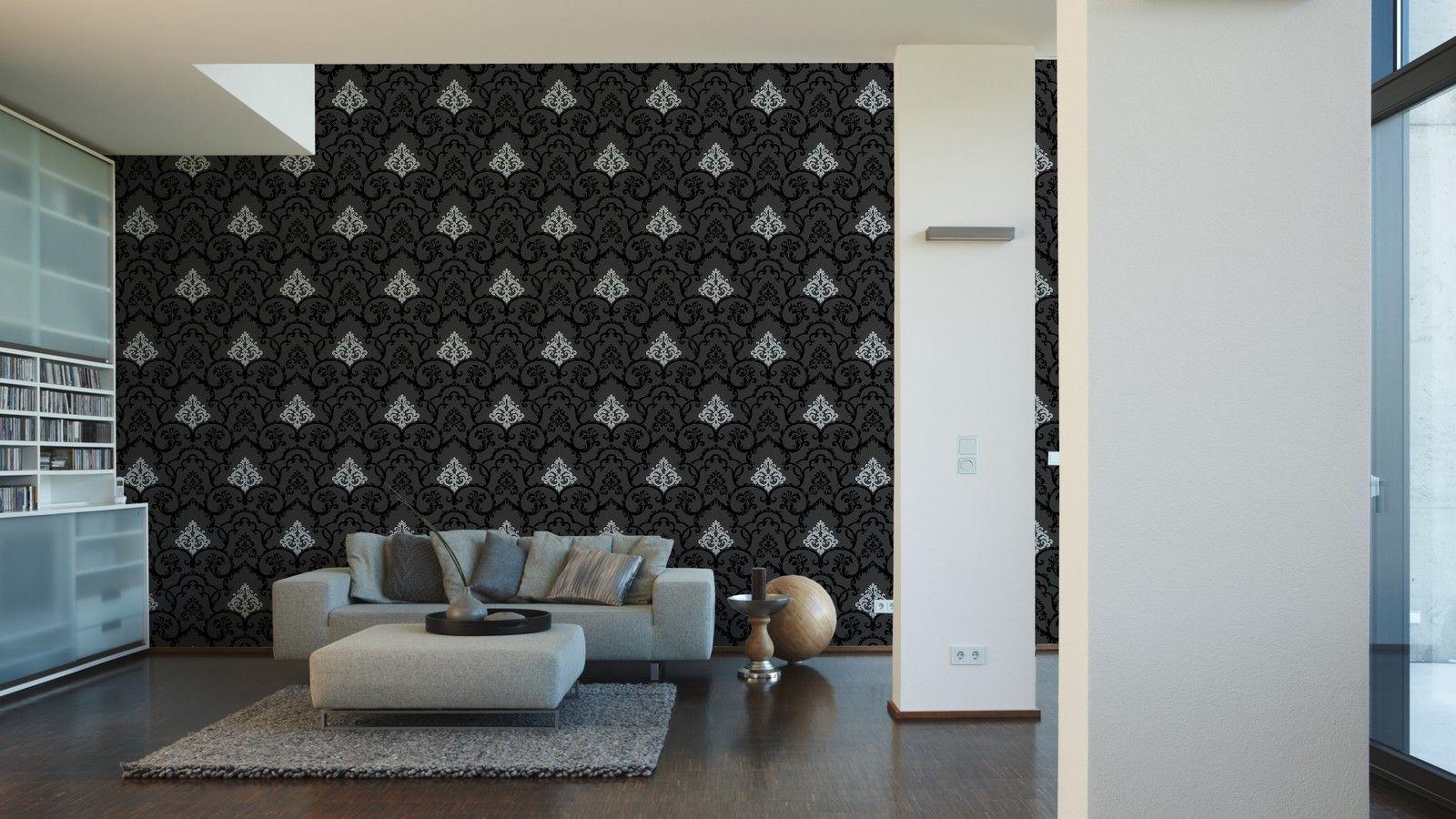 vlies tapete barock muster ornament schwarz silber glanz effekt klassisch royal kaufen bei. Black Bedroom Furniture Sets. Home Design Ideas