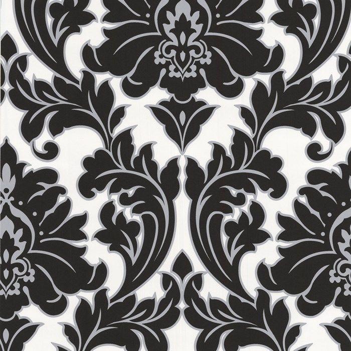 vlies tapete barock muster ornament schwarz wei silber klassisch neo barock kaufen bei. Black Bedroom Furniture Sets. Home Design Ideas