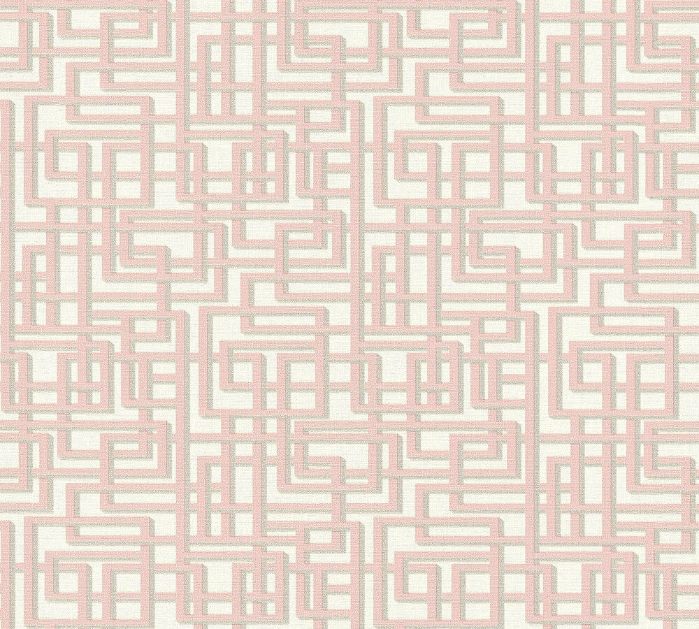 Fabulous Labyrinth Muster Grafik Retro Vlies Tapete rosa grau weiß Palila PM72