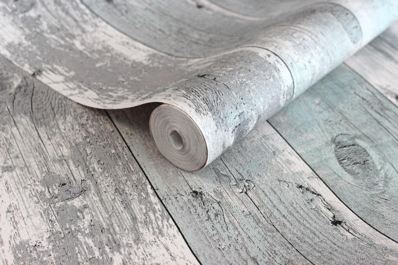 Tapete Rustikal vlies tapete antik holz rustikal verwittert hell blau grau