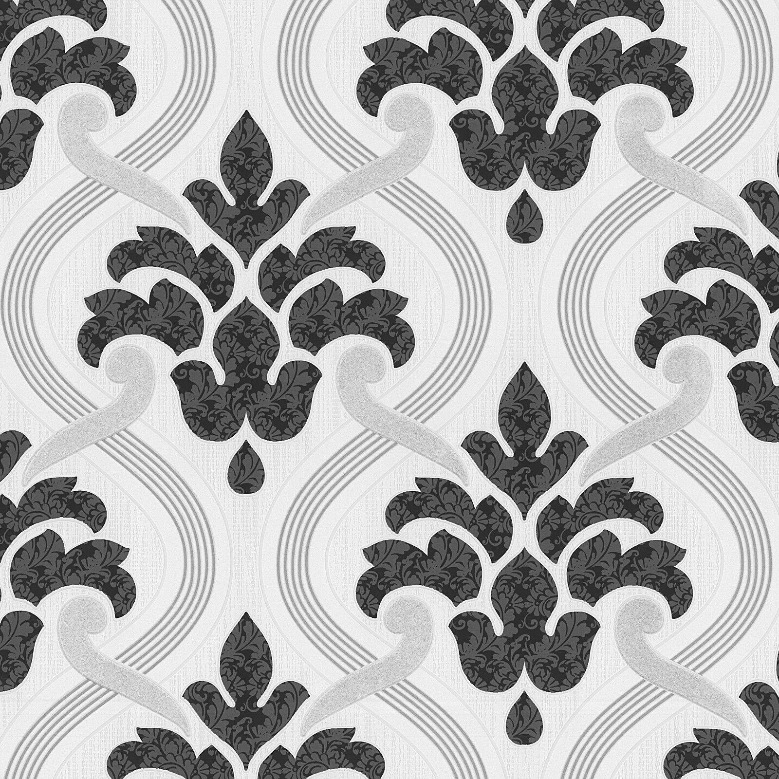 vlies tapete barock muster ornament schwarz wei metallic glitzer 1 - Tapete Schwarz Weis Muster