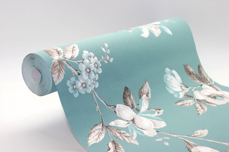 vlies tapete florales blumen muster blau t rkis creme. Black Bedroom Furniture Sets. Home Design Ideas