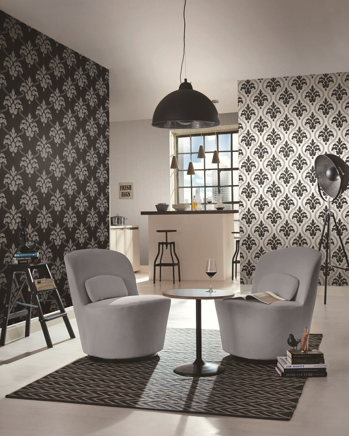 Vlies Tapete Barock Muster Ornament Schwarz Weiß Metallic Glitzer