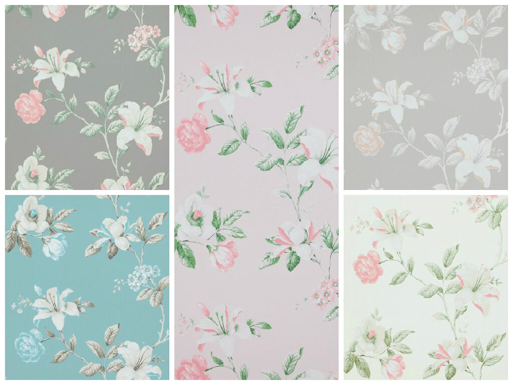 vlies tapete florales blumen muster grau ros creme wei braun summer breeze 1 - Tapete Muster Grau