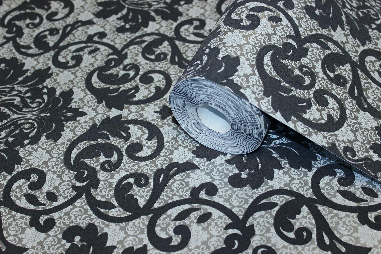 Vlies tapete barock muster ornament schwarz silber grau for Tapete schwarz silber