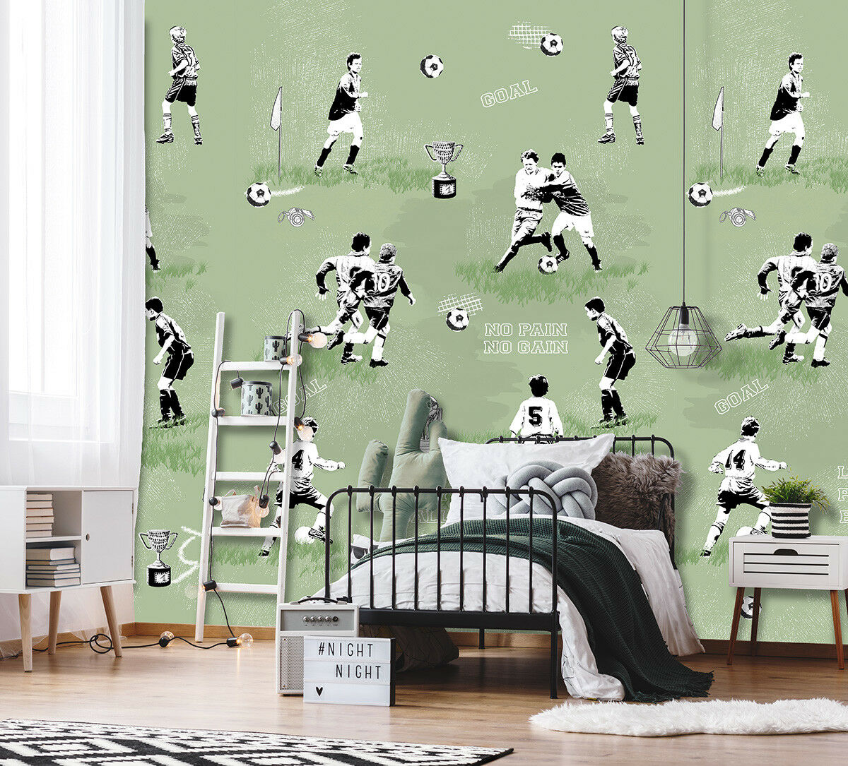 Vlies Fototapete Fußball Goal Pokal Tapete grün Wandbild 200 x 300cm INK7096