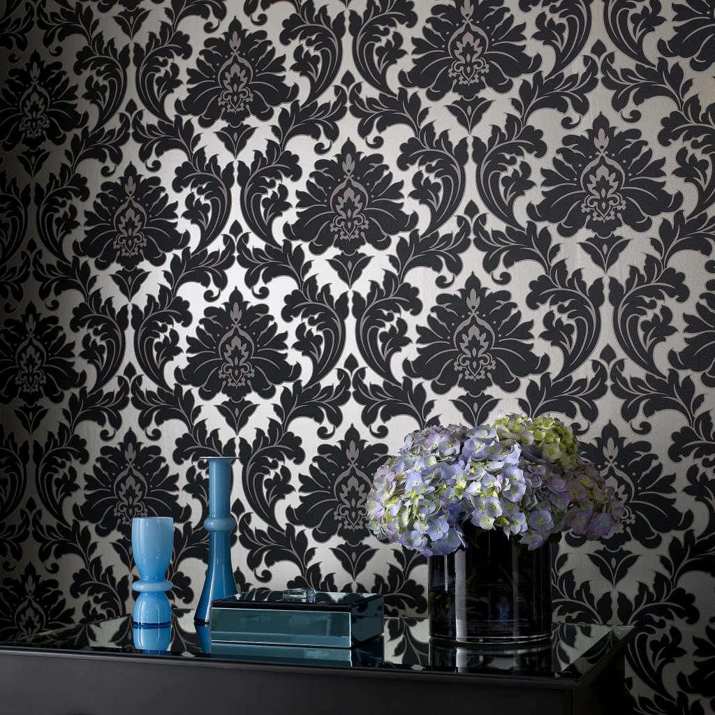 Vlies Tapete Barock Muster Ornament metallic effekt schwarz gold ...