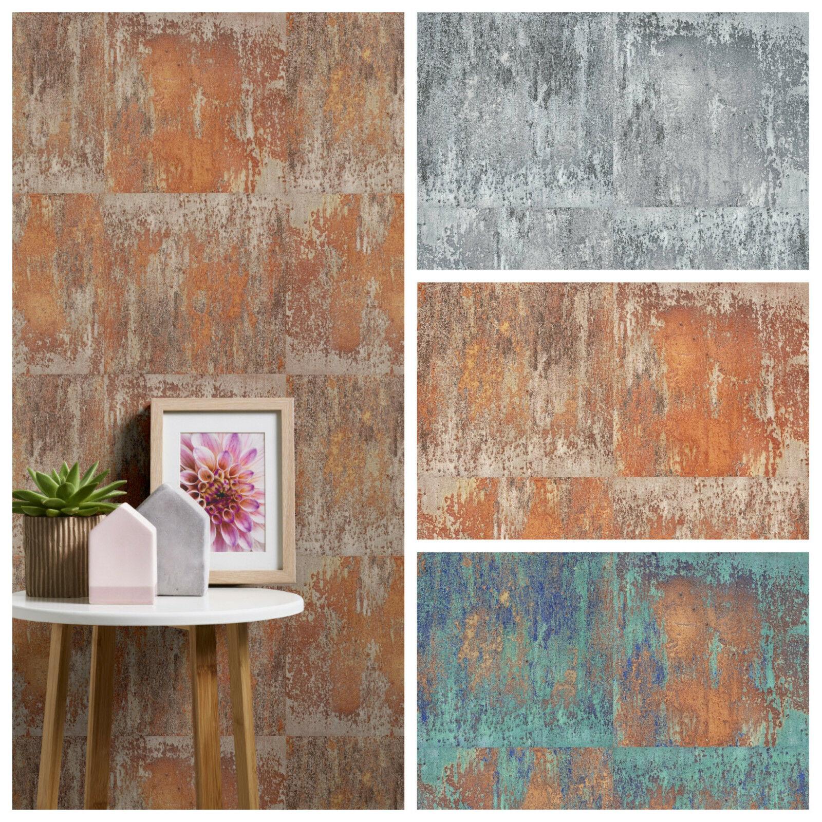 vliestapete metall stein beton optik terra rost patina petrol t rkis grau kaufen bei joratrend. Black Bedroom Furniture Sets. Home Design Ideas