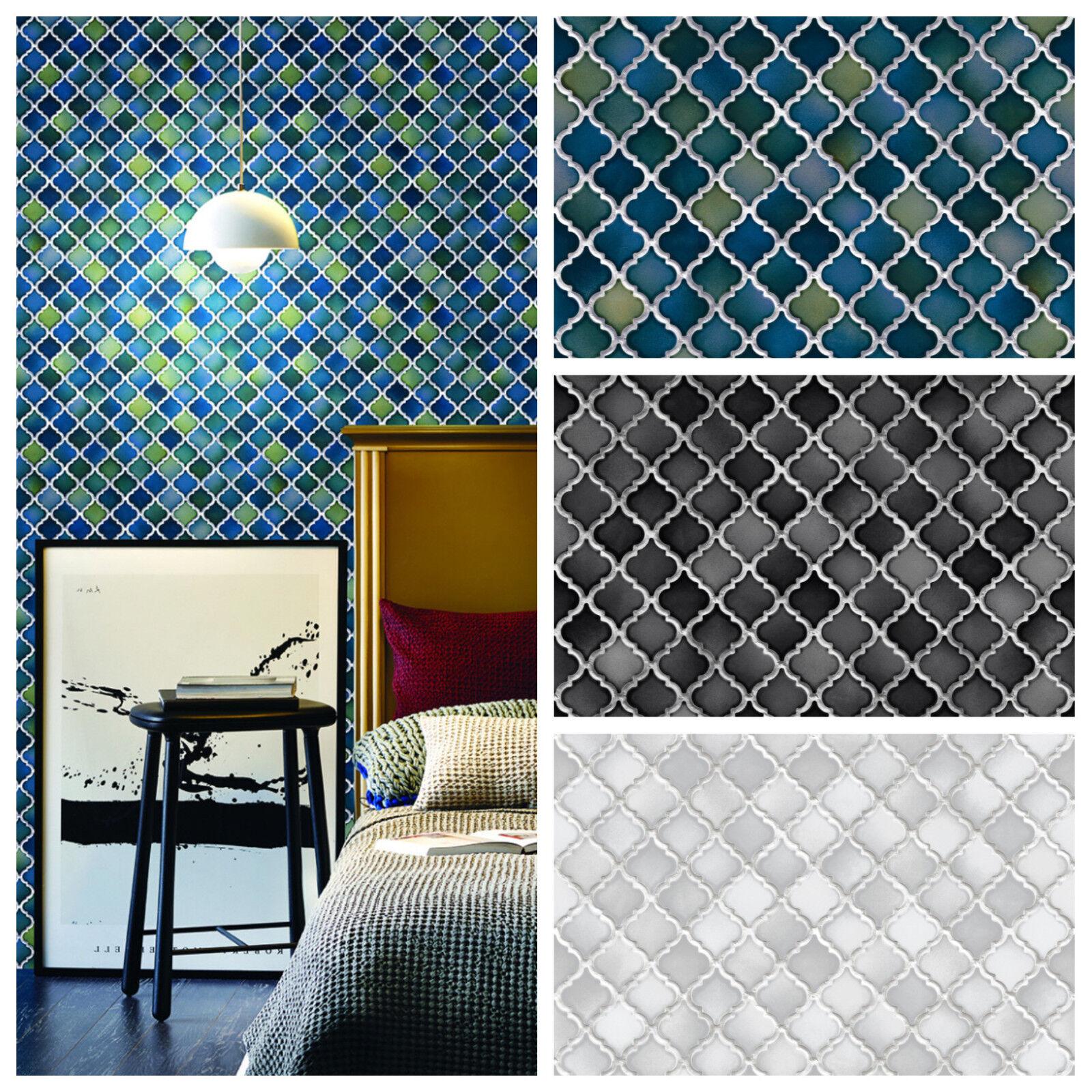 Vlies Tapete Stein Keramik Mosaik Fliesen Florentiner Optik Petrol Schwarz  Grau 1 ...