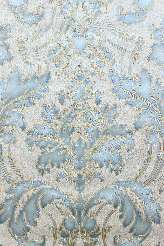 Vlies tapete barock ornament creme gold blau metallic for Tapete barock