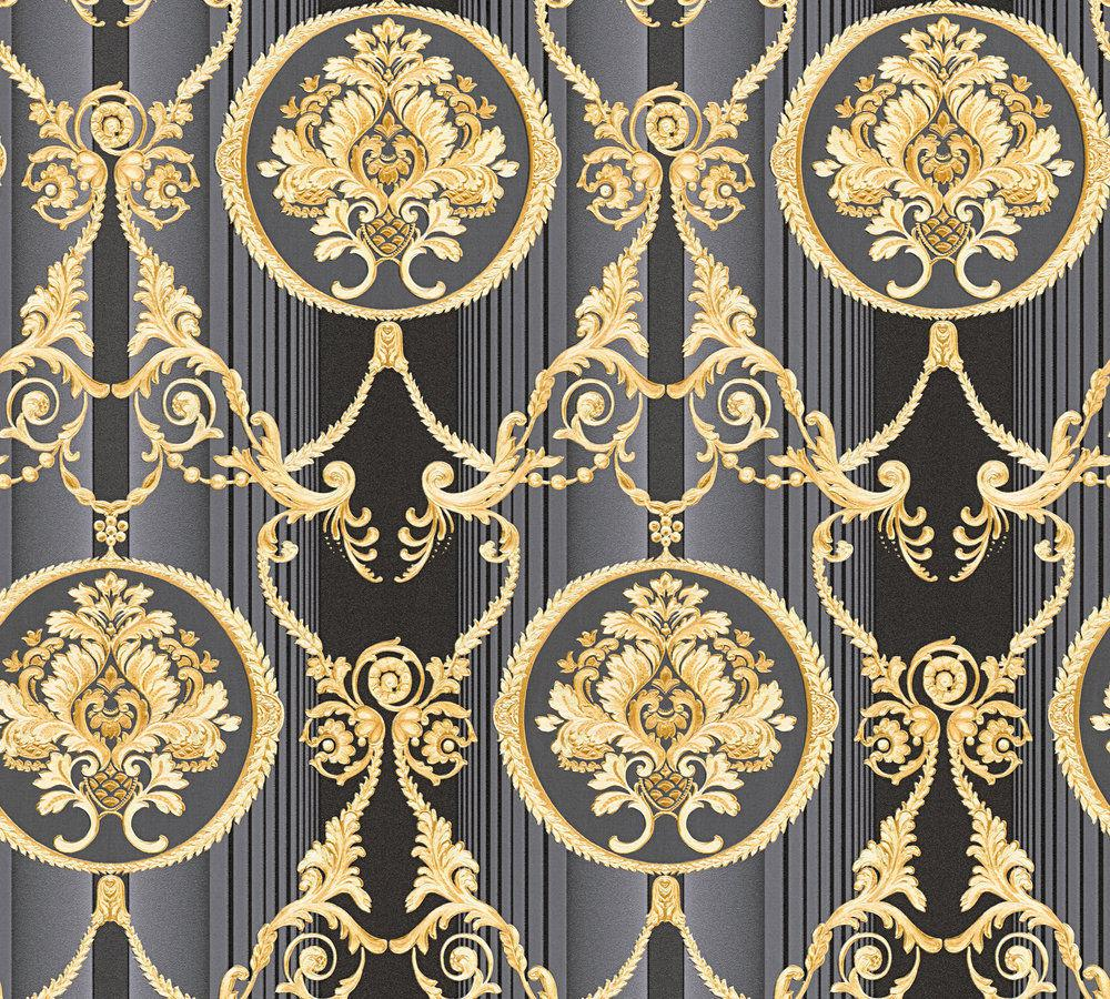 luxus vlies tapete barock muster ornament schwarz gold metallic 330836 streifen kaufen bei. Black Bedroom Furniture Sets. Home Design Ideas