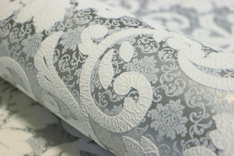 ... Vlies Tapete Barock Muster Ornament Silber Grau Weiß Metallic 13519 50 3