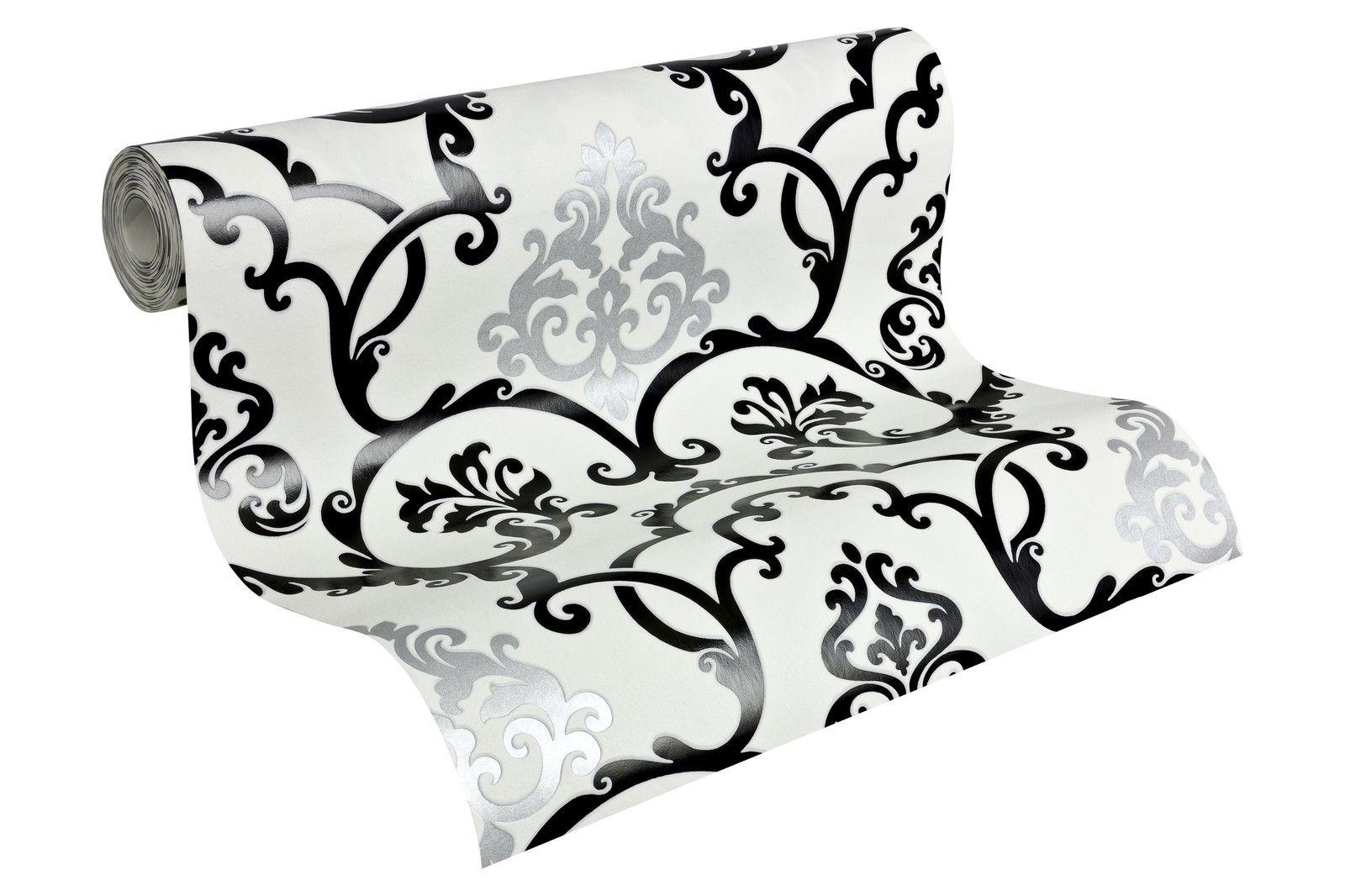 vlies tapete barock muster ornament schwarz wei silber glanz effekt klassisch 1 - Tapete Schwarz Weis Muster