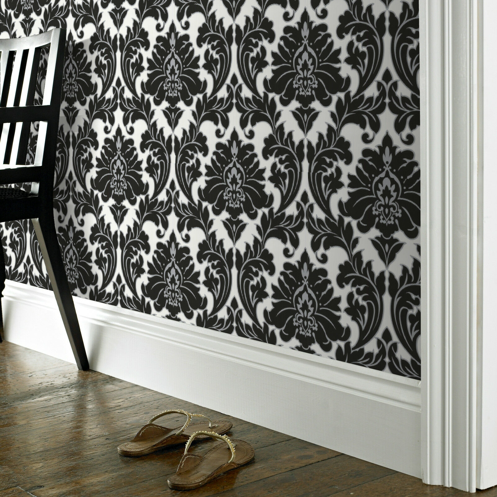 vlies tapete barock muster ornament schwarz wei silber klassisch neo barock 3 - Tapete Schwarz Weis Muster