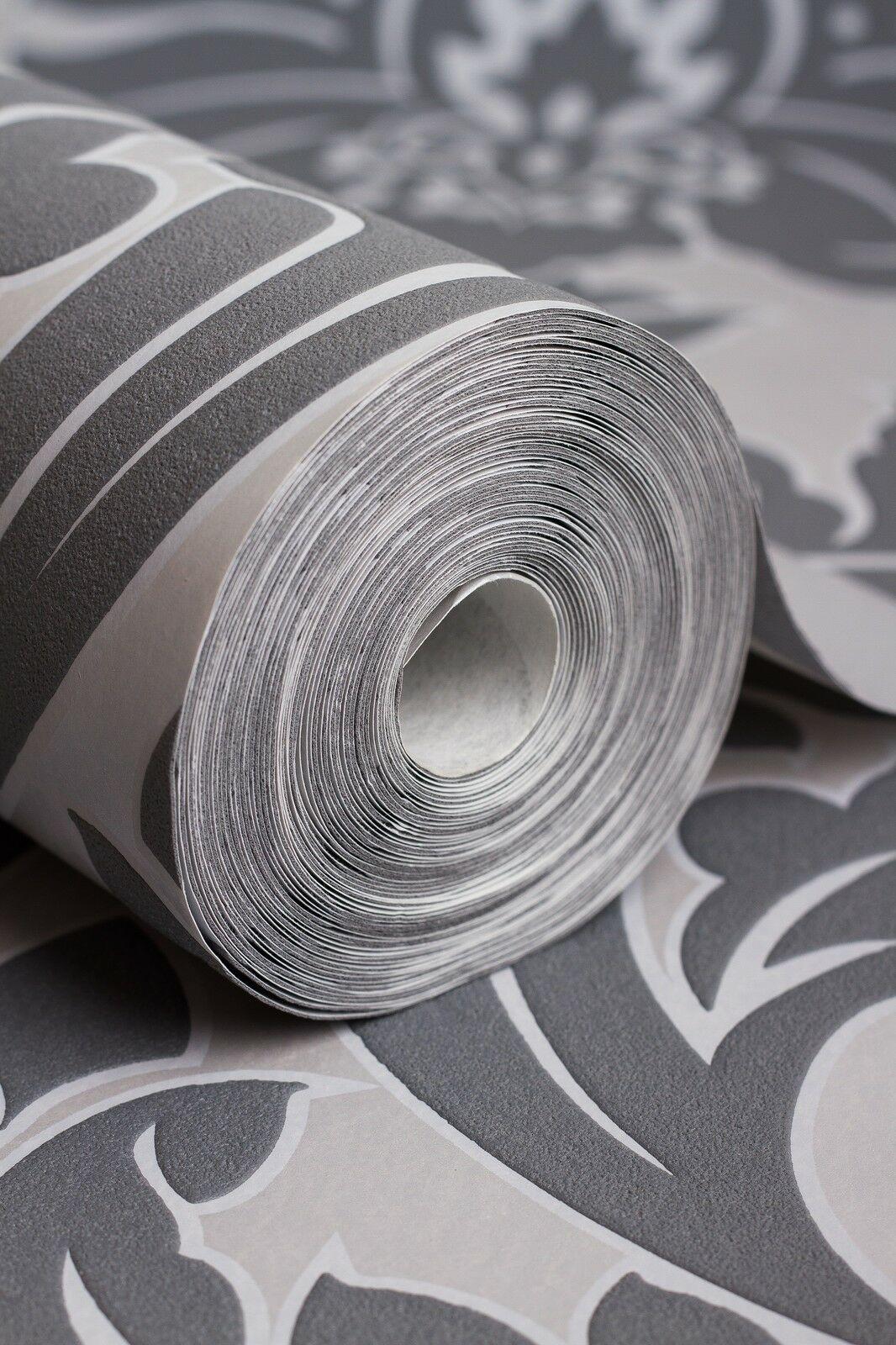 Vlies tapete barock muster ornament metallic effekt silber for Tapete silber grau