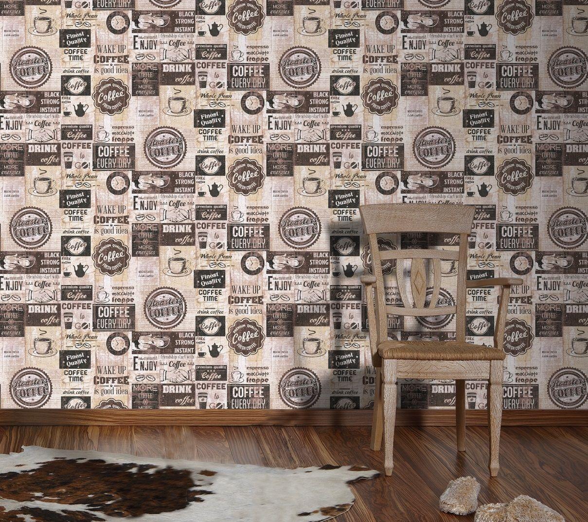 ... Papier Küchen Tapete Kaffe Coffee Cafe Creme Beige Braun 33480 3 3