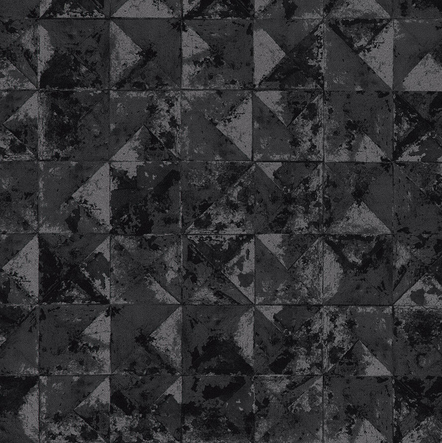 Vlies Tapete Beton Mosaik Fliesen Kacheln Anthrazit Silber Schwarz - Mosaik fliesen metallic