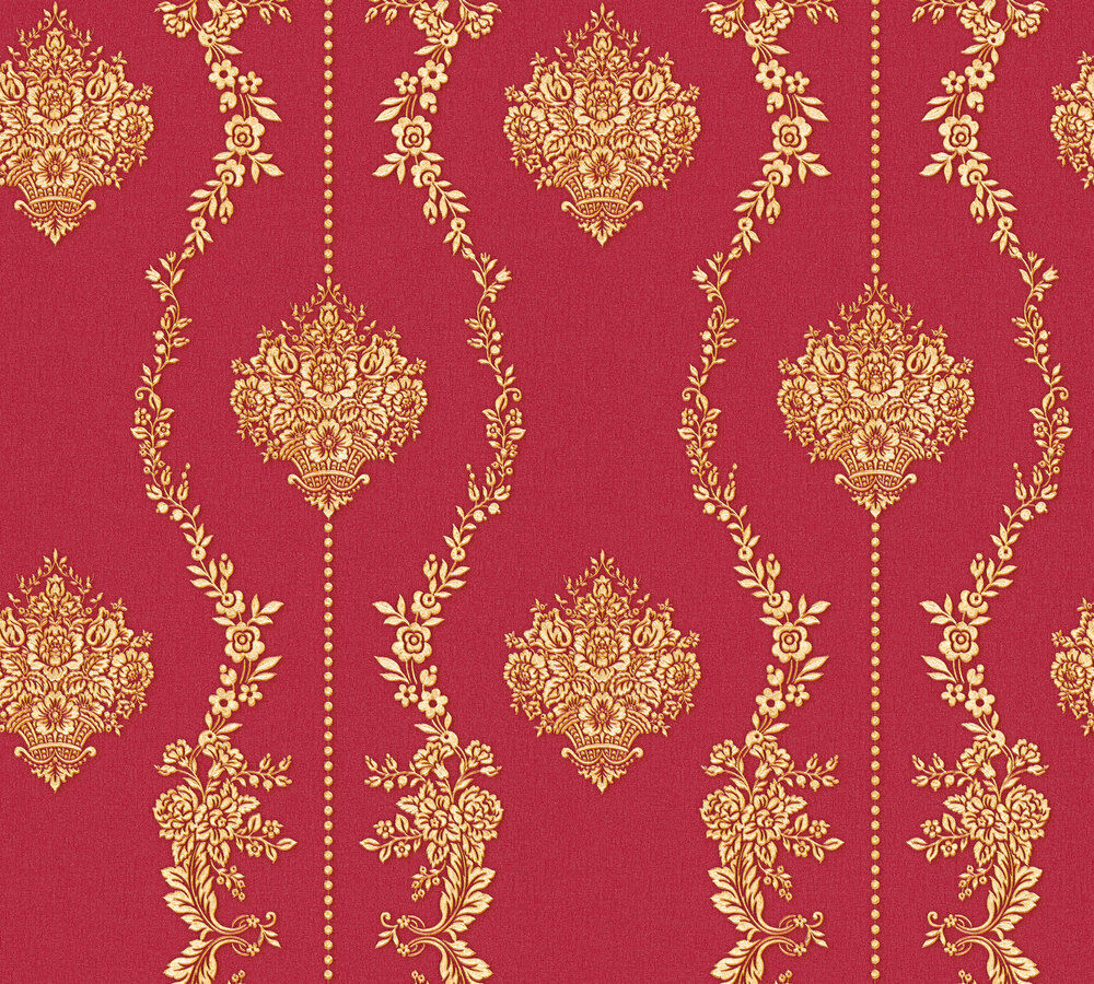 vlies tapete barock ornament streifen floral rot gold metallic 34493 2 chateau 5 - Rot Goldene Tapete